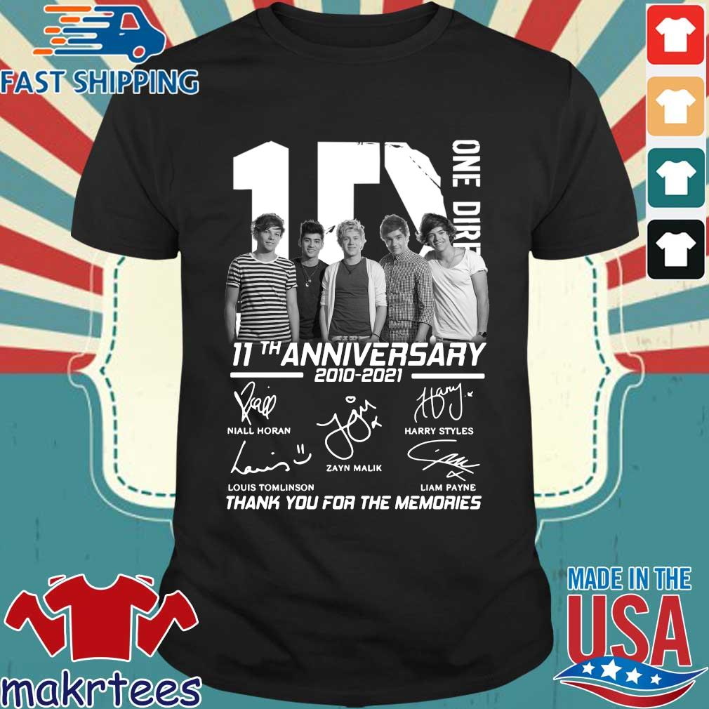 1D one Direction 11th anniversary 2010 2021 signatures thank you for the memories shirt
