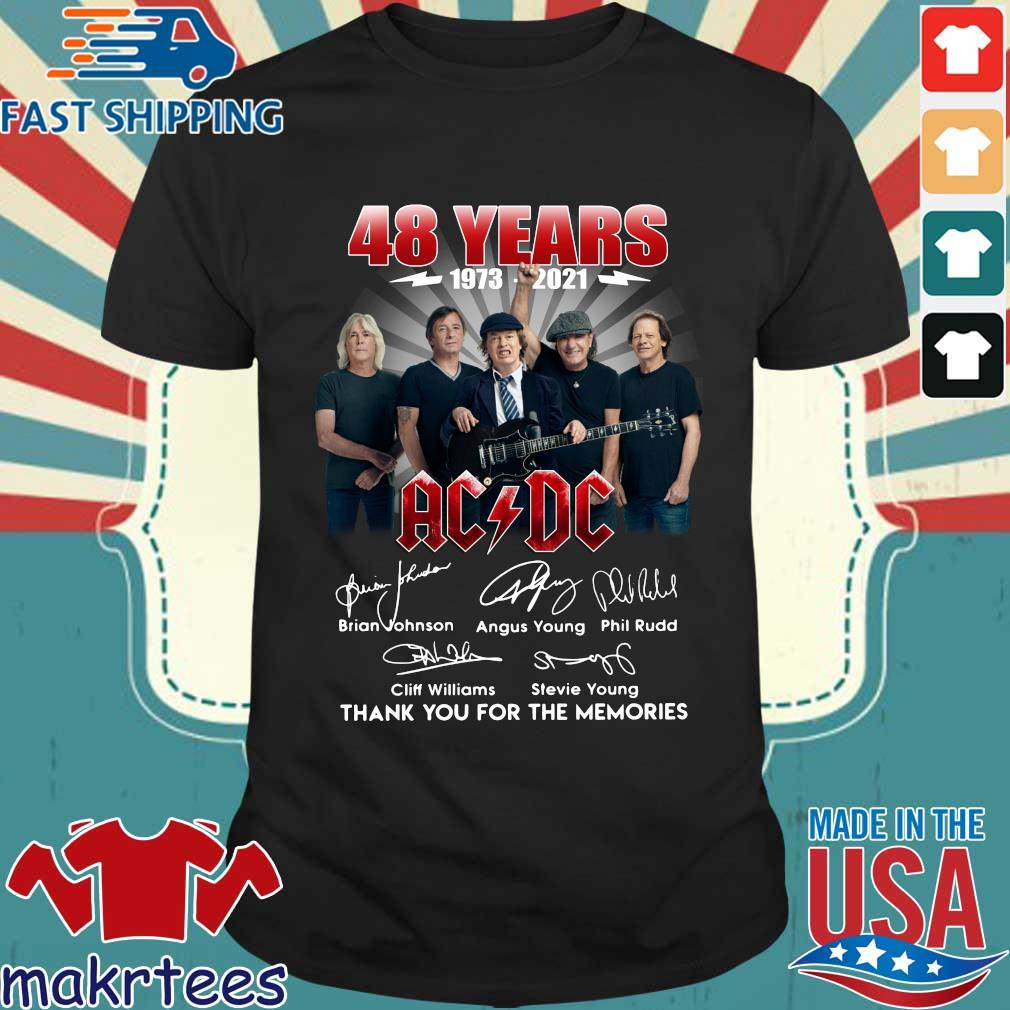 48 years 1973-2021 AC DC signatures thank you for the memories shirt