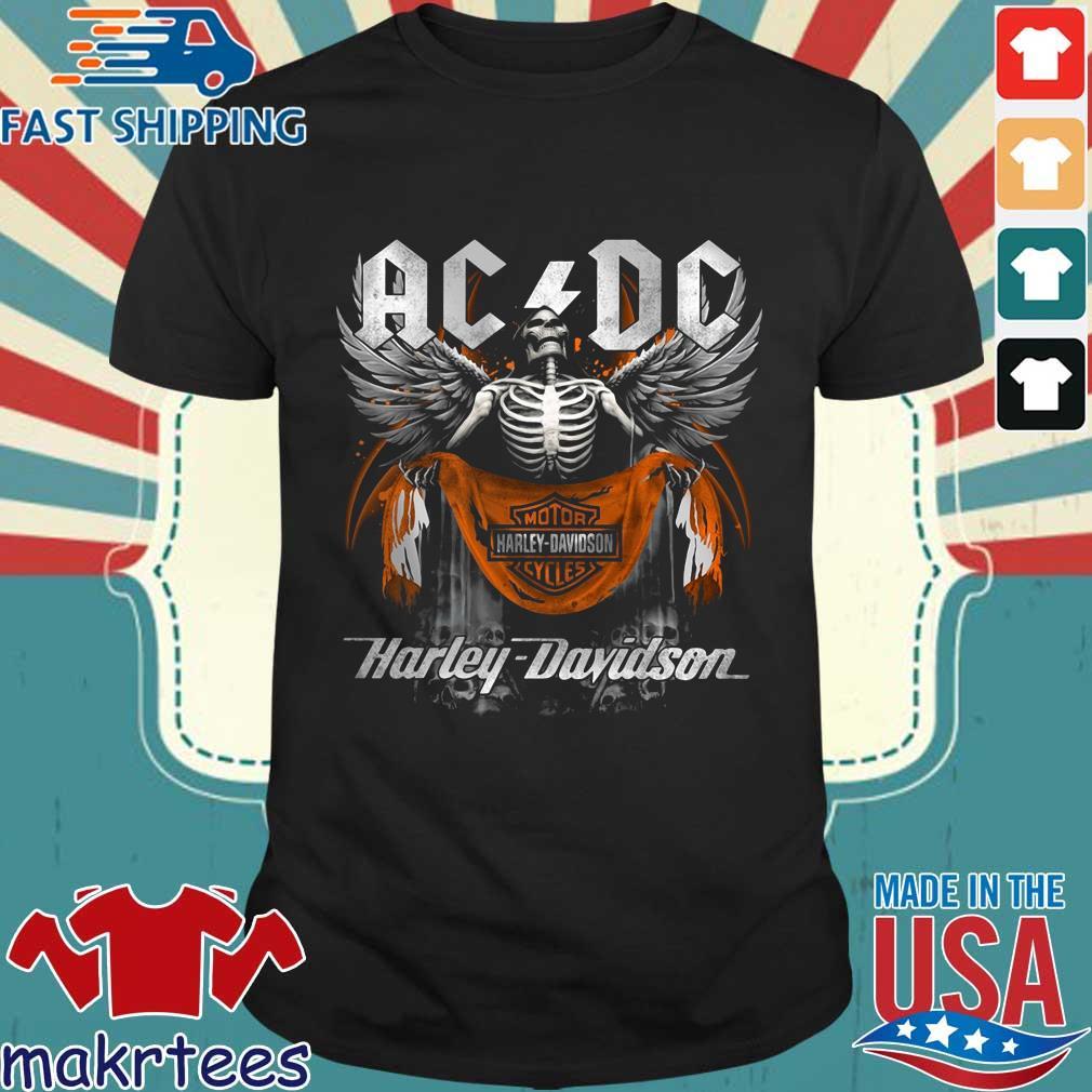 Angel Skeleton AC DC Motor Harley Davidson Cycles shirt