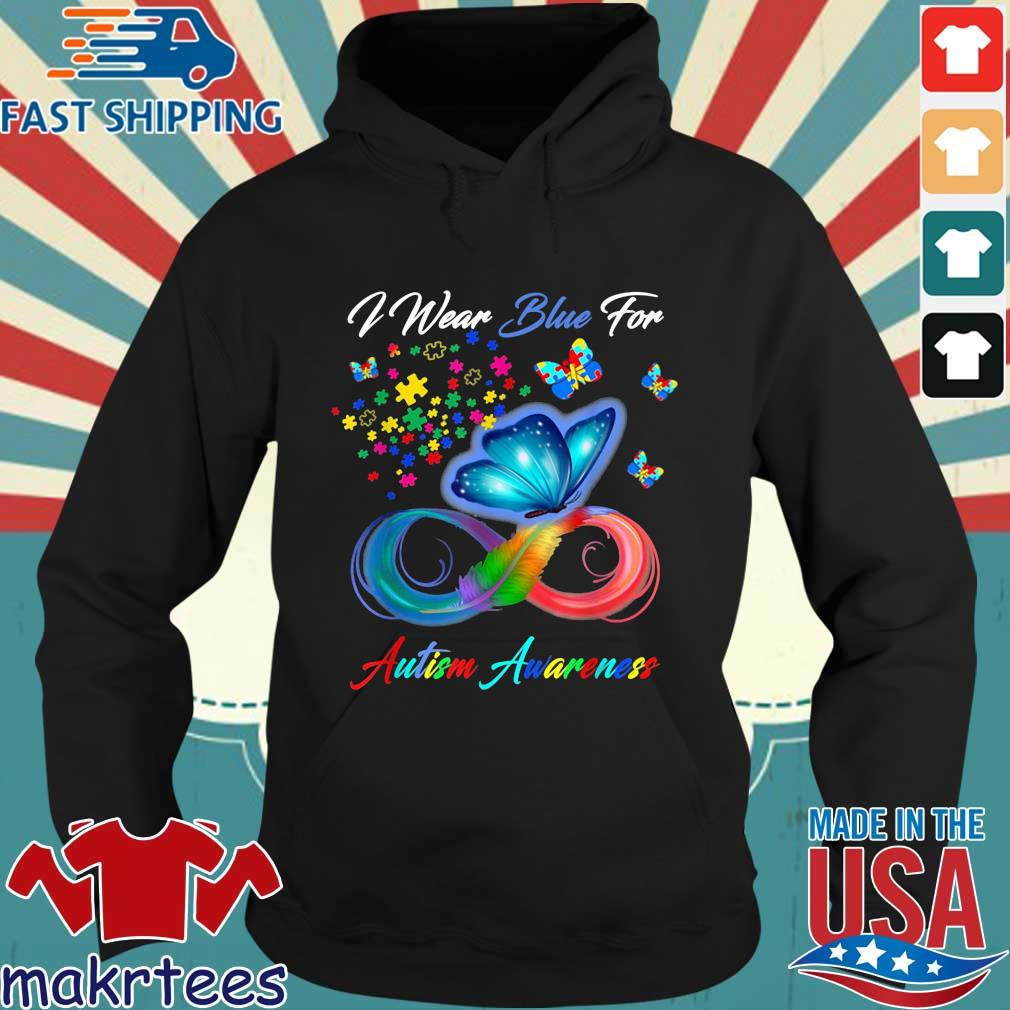 Butterfly I wear blue for Autism awareness Hoodie den
