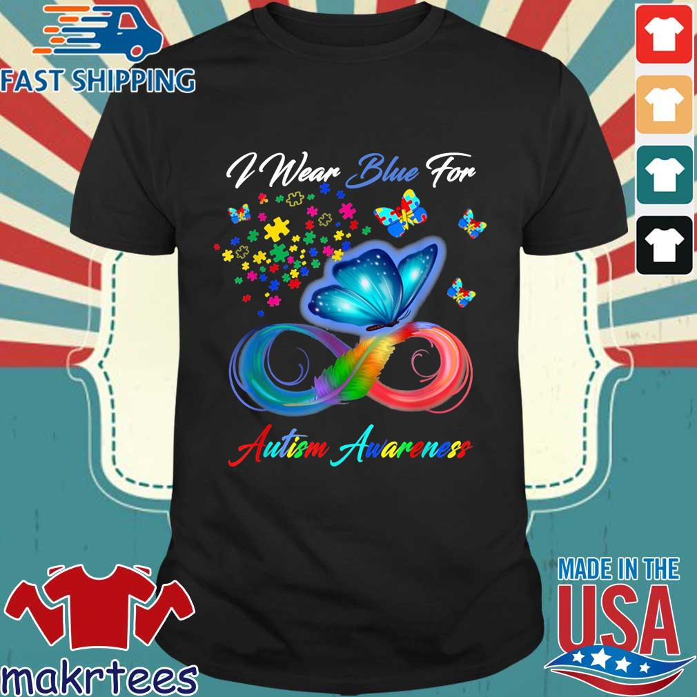 Butterfly I wear blue for Autism awareness shirt