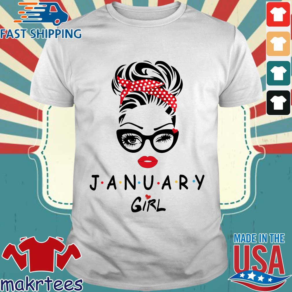 January Girl Face Wink Eye Shirt