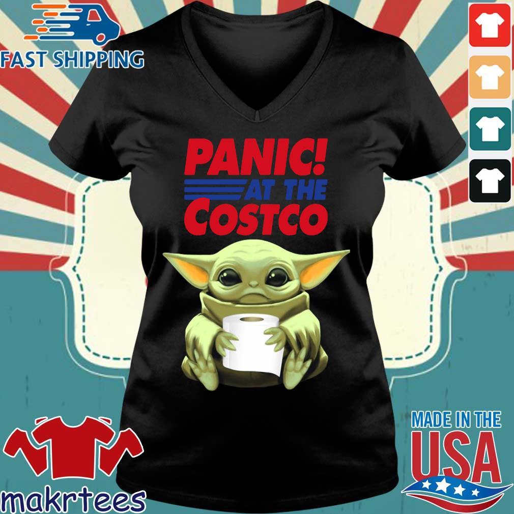 Baby Yoda Hug Toilet Paper Panic At The Costco Shirt Ladies V-neck den