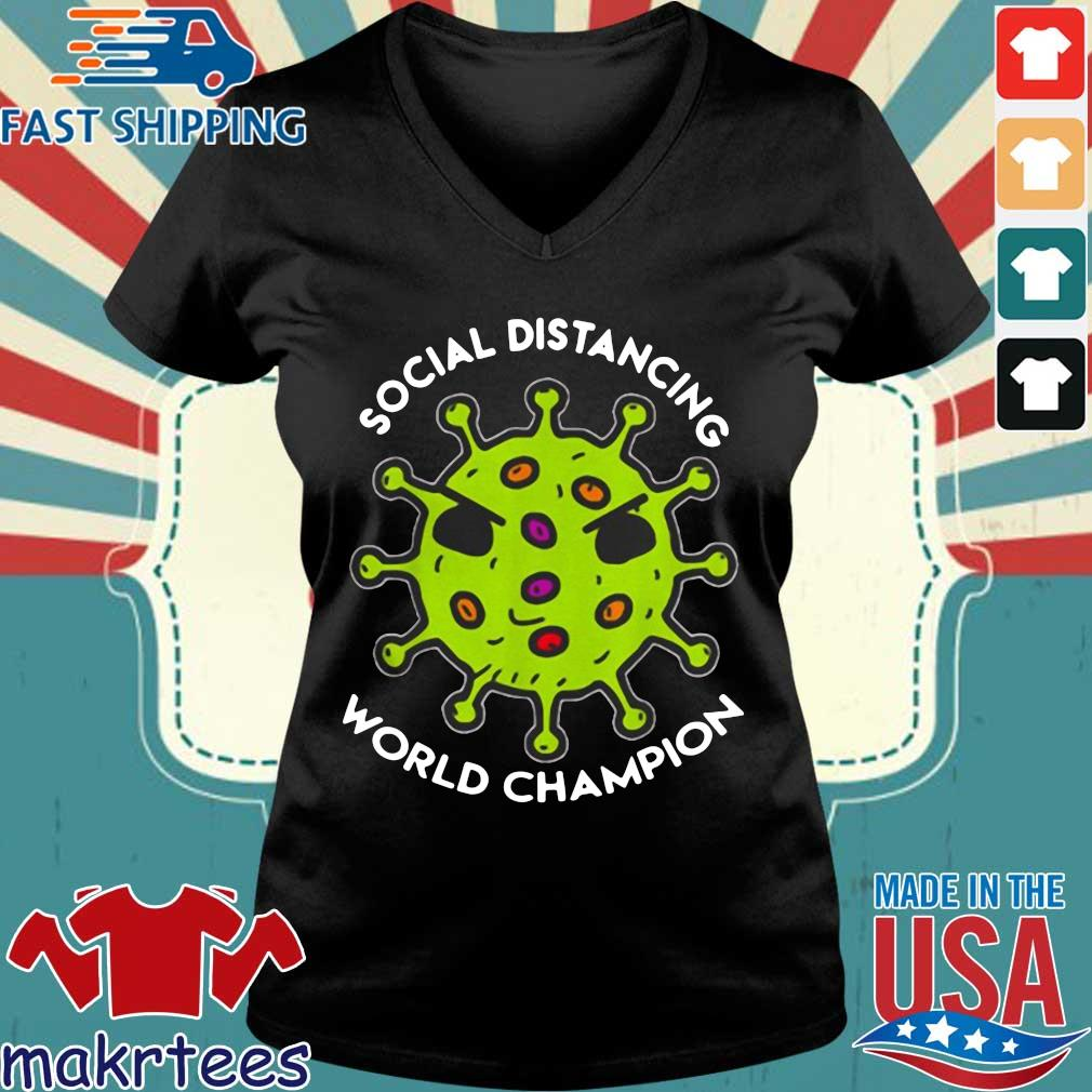 Bản sao của Virus social distancing world champion Shirt Ladies V-neck den