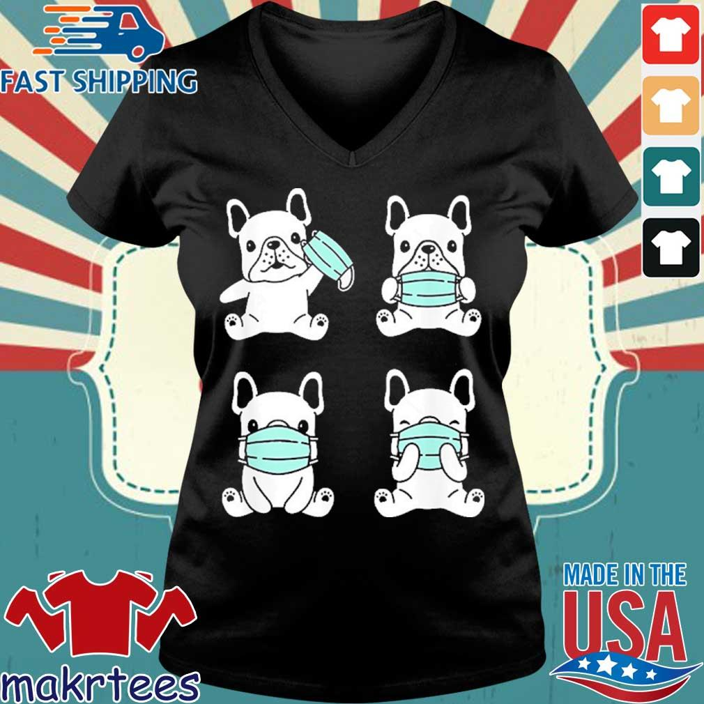 Dog Medical Face Mask French Bulldog Virus Pet Breed Doodle Shirt Ladies V-neck den