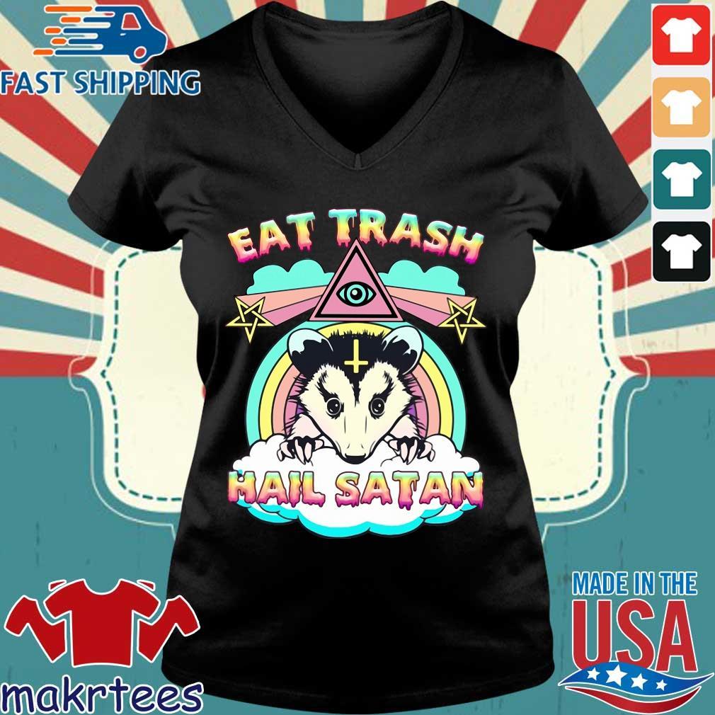 Eat trash hail satan s Ladies V-neck den