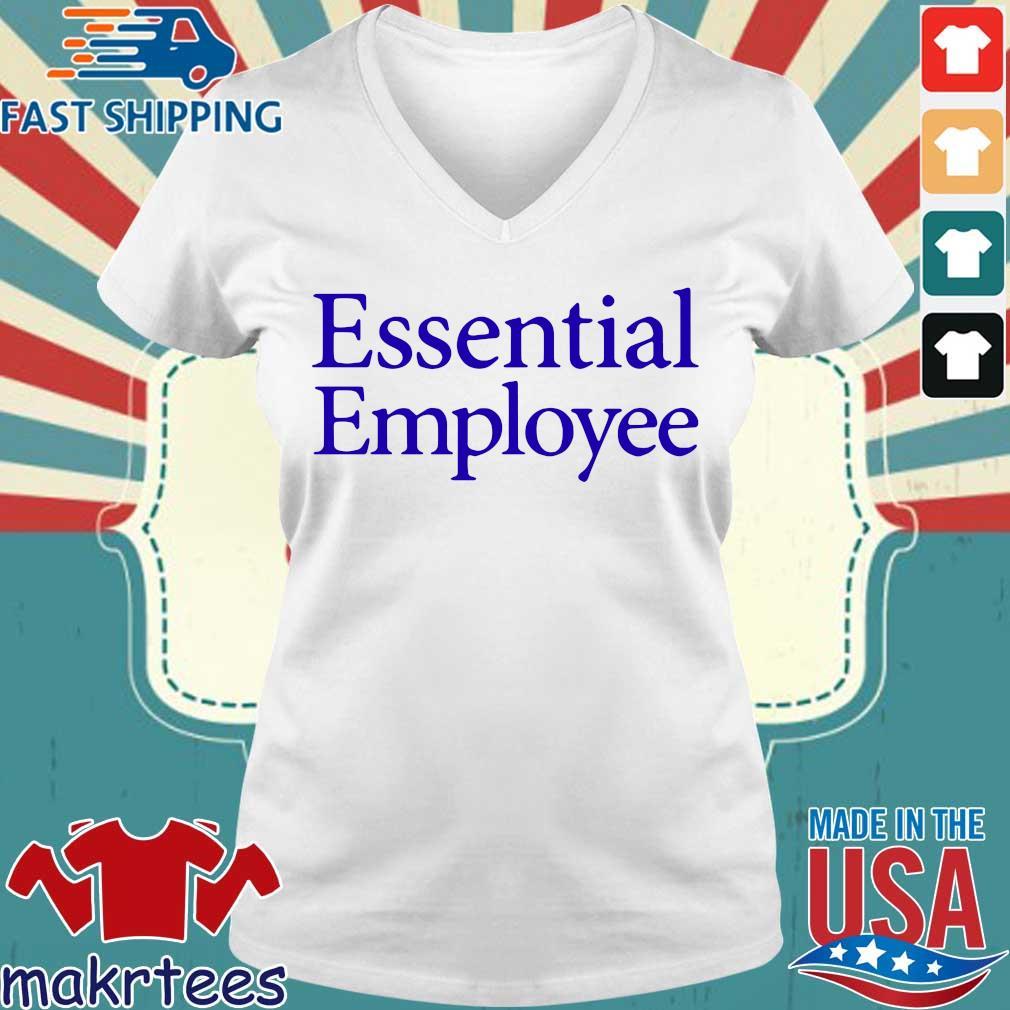Essential Employee Blue Shirt Ladies V-neck trang