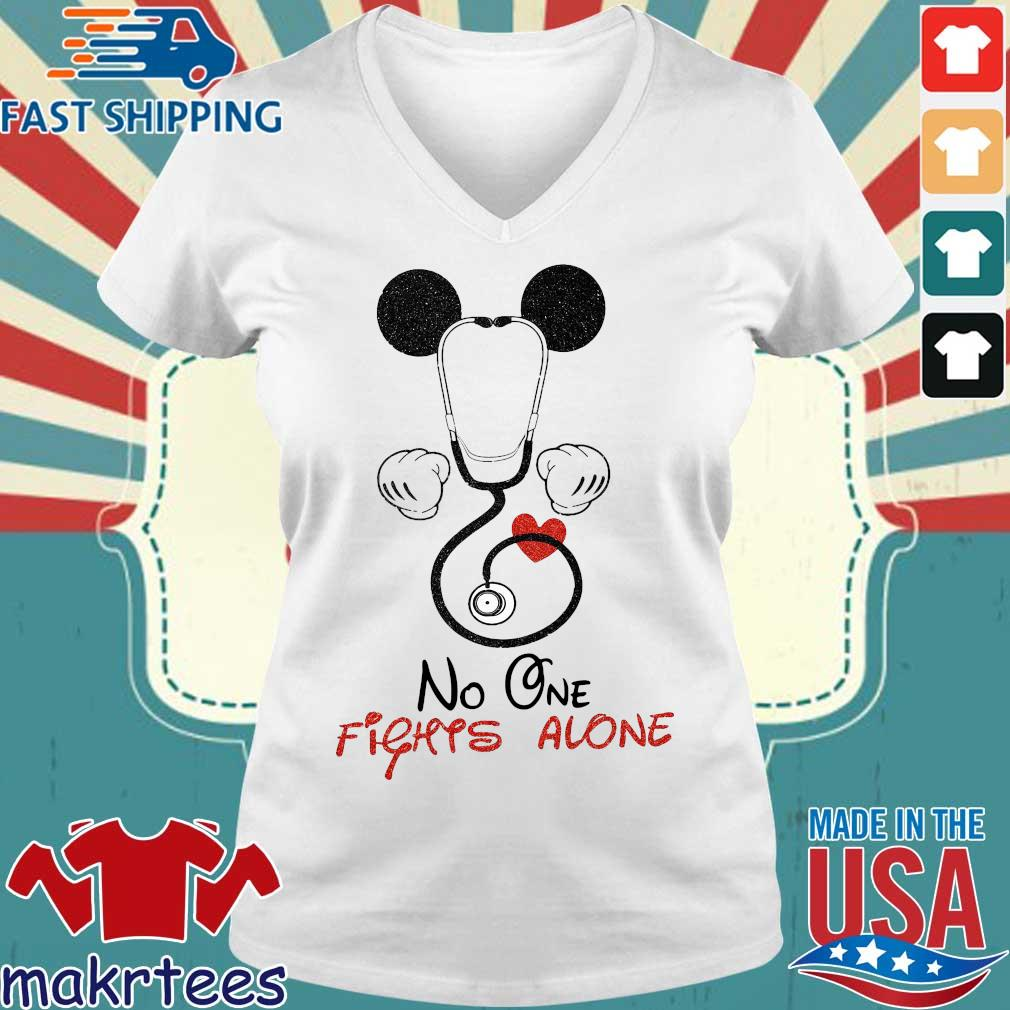 Mickey Mouse Fights Alone Shirt Ladies V-neck trang