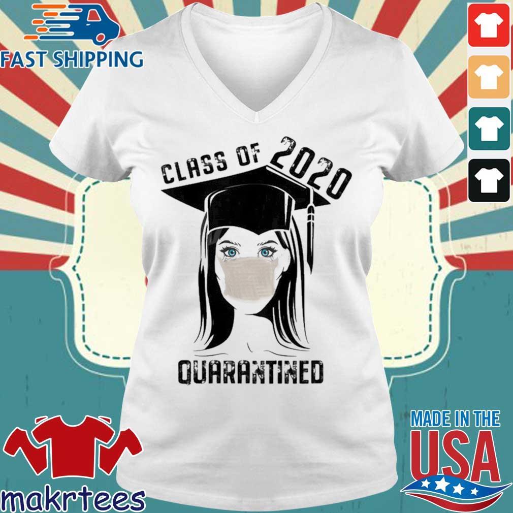 Quarantined Class 2020 Sad Graduating Girl Mask Graduation Shirt Ladies V-neck trang