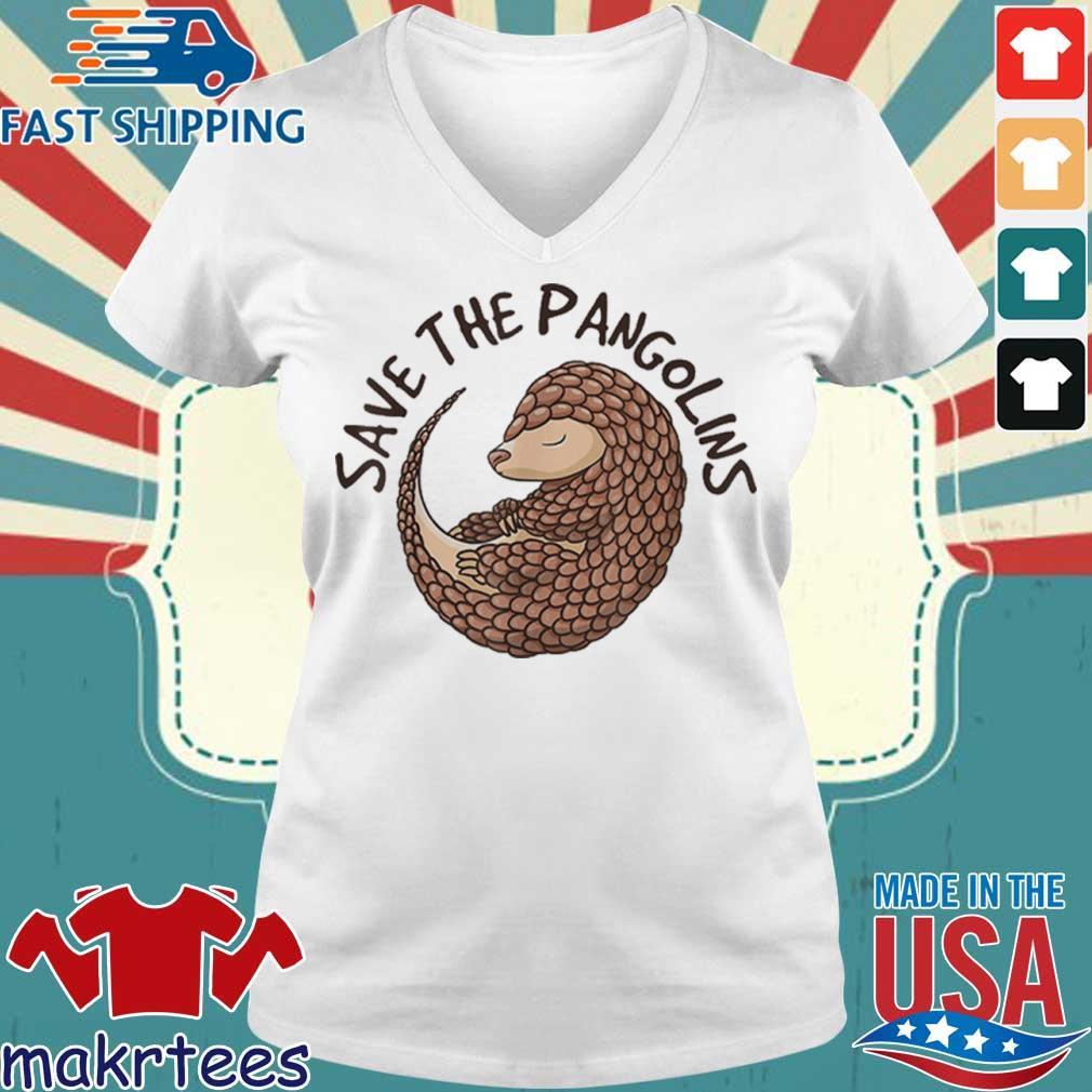 Save The Pangolins Funny Cute Animal Pangolin Shirt Ladies V-neck trang