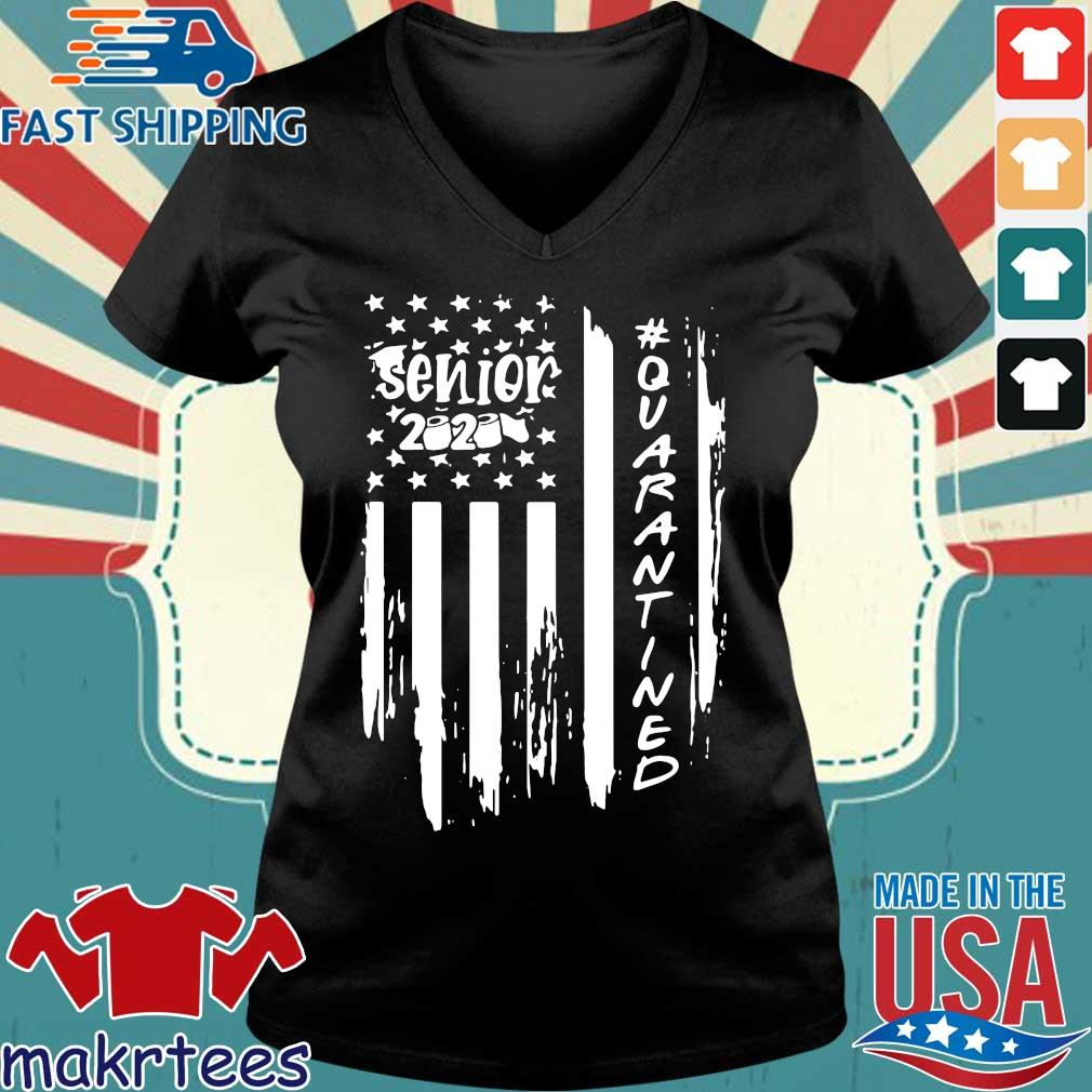 Senior 2020 Quarantine American Flag Shirt Ladies V-neck den