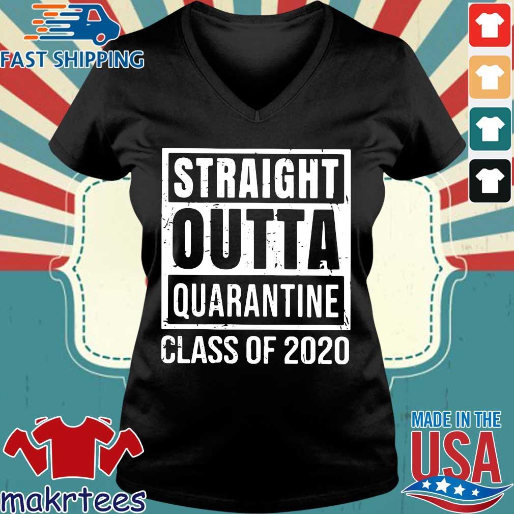 Straight Outta Quarantine Class Of 2020 Distressed Classic Shirt Ladies V-neck den