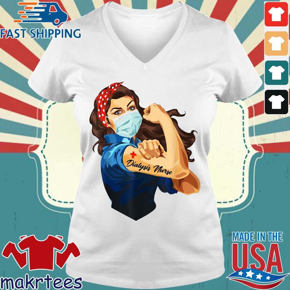 Strong Woman Mask Dialysis Nurse Coronavirus Shirt Ladies V-neck trang