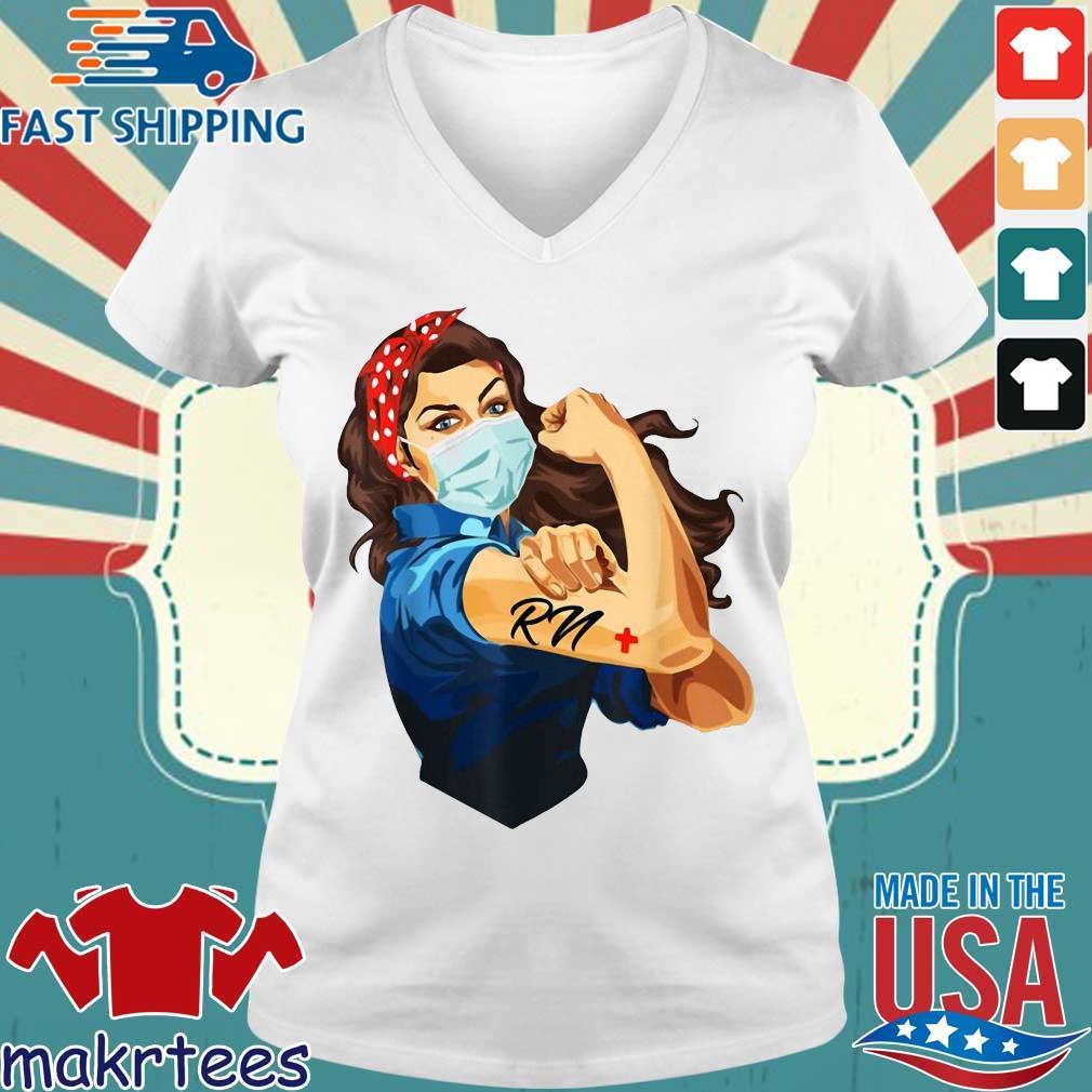 Strong Woman Mask RN Coronavirus Shirt Ladies V-neck trang