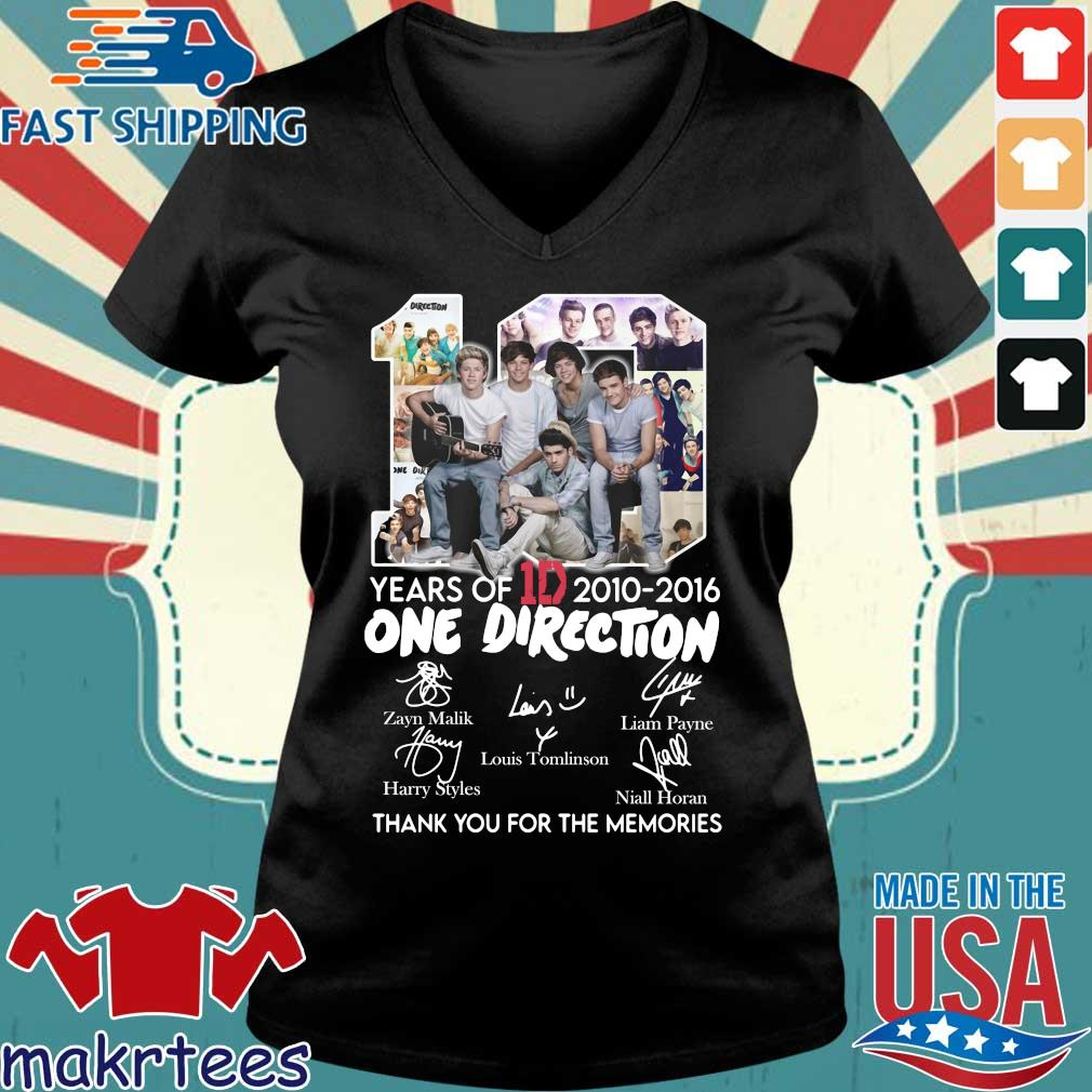 10 Years Of 1d 2010-2016 One Direction Thank You For The Memories Signatures Shirt Ladies V-neck den