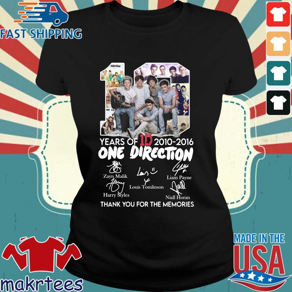 10 Years Of 1d 2010-2016 One Direction Thank You For The Memories Signatures Shirt Ladies den