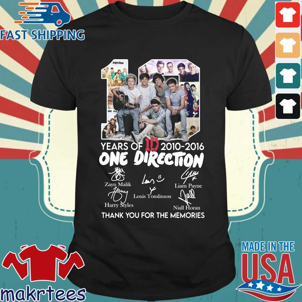 10 Years Of 1d 2010-2016 One Direction Thank You For The Memories Signatures Shirt