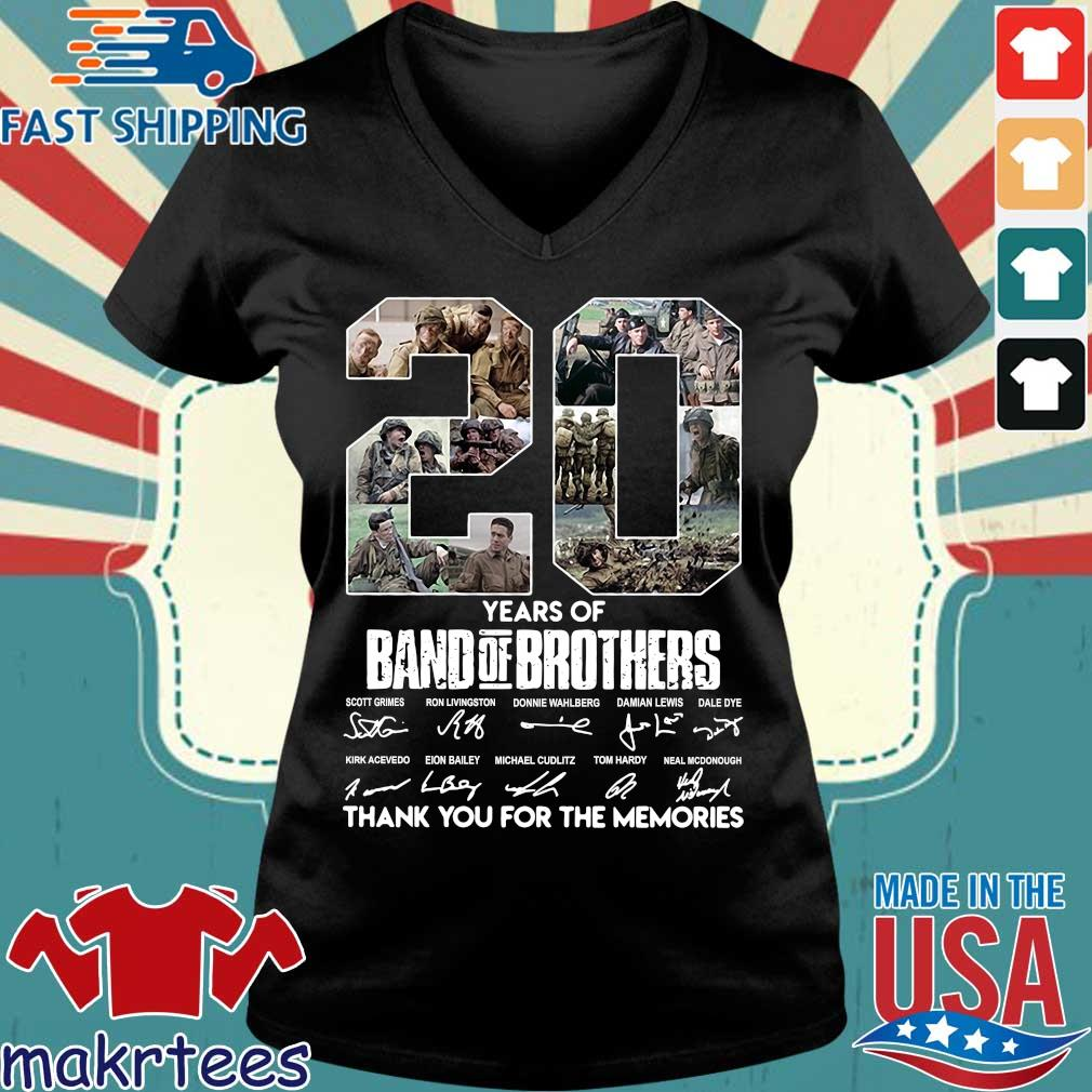 20 Years Of Band Of Brothers Thank You For The Memories Signatures Shirt Ladies V-neck den