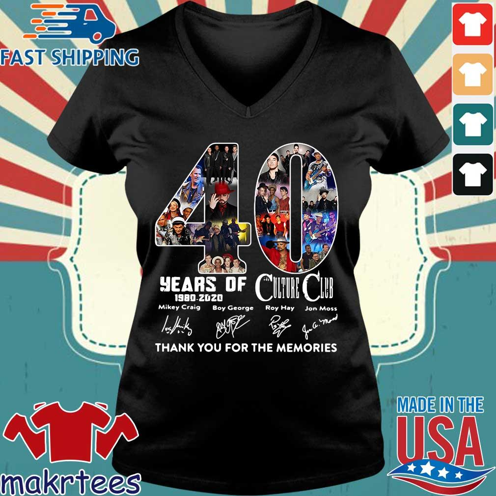 40 Years Of Culture Club 1980-2020 Signatures Thank You For The Memories Shirt Ladies V-neck den