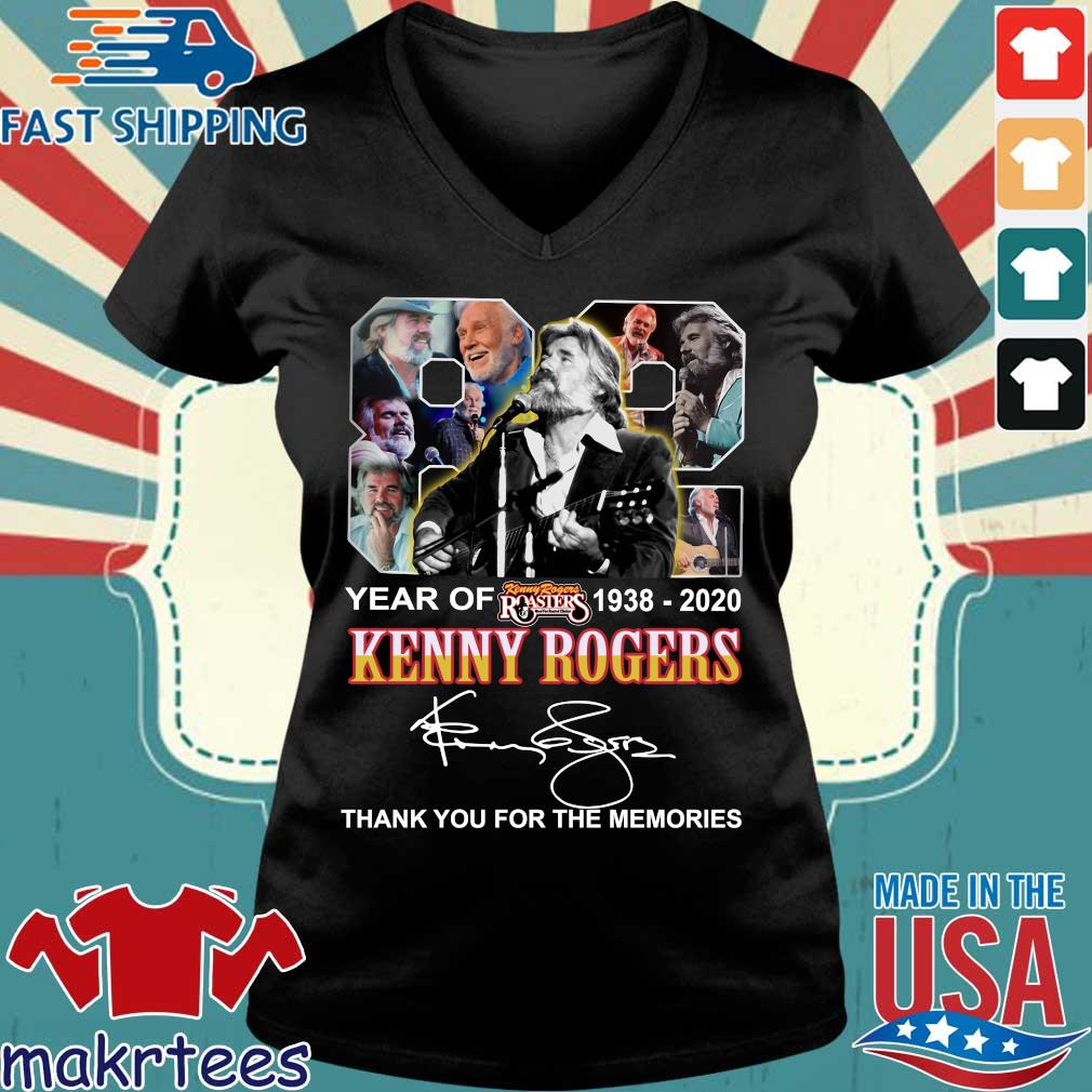 82 Year Of Kenny Rogers 1938-2020 Thank You For The Memories Signatures Shirt Ladies V-neck den