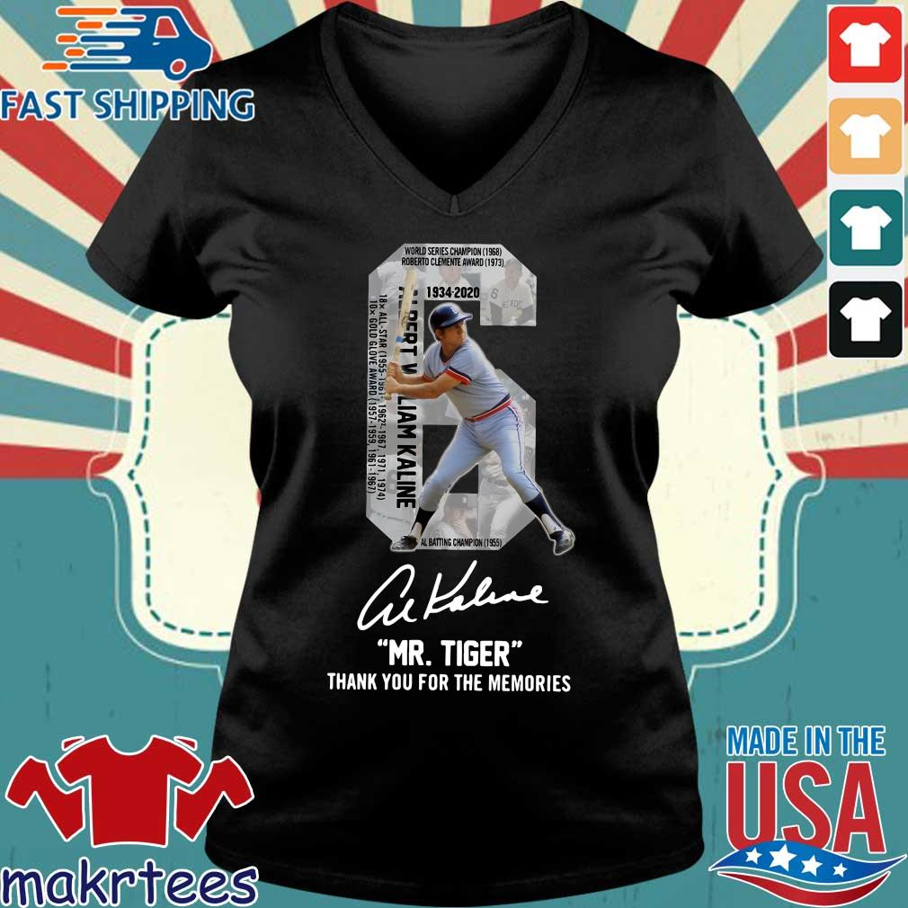 Albert William Kaline 6 Mr.tiger Thank You For The Memories Signatures Shirt Ladies V-neck den