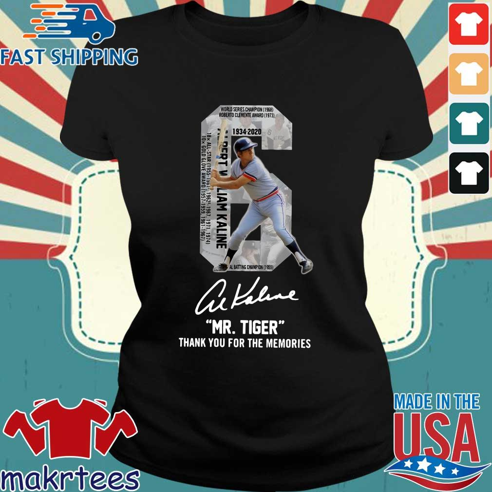 Albert William Kaline 6 Mr.tiger Thank You For The Memories Signatures Shirt Ladies den