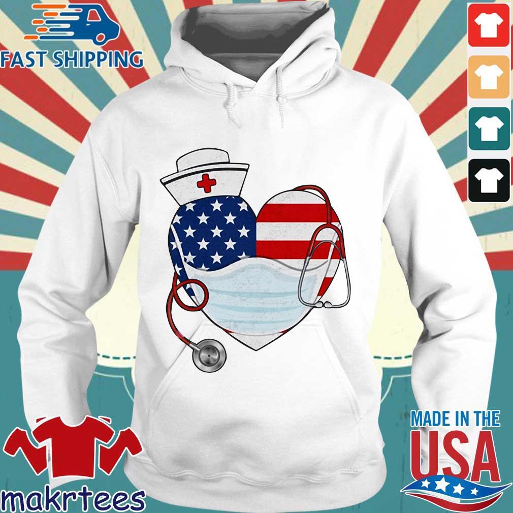 American Us Flag Nurse Heart Shirt Hoodie trang