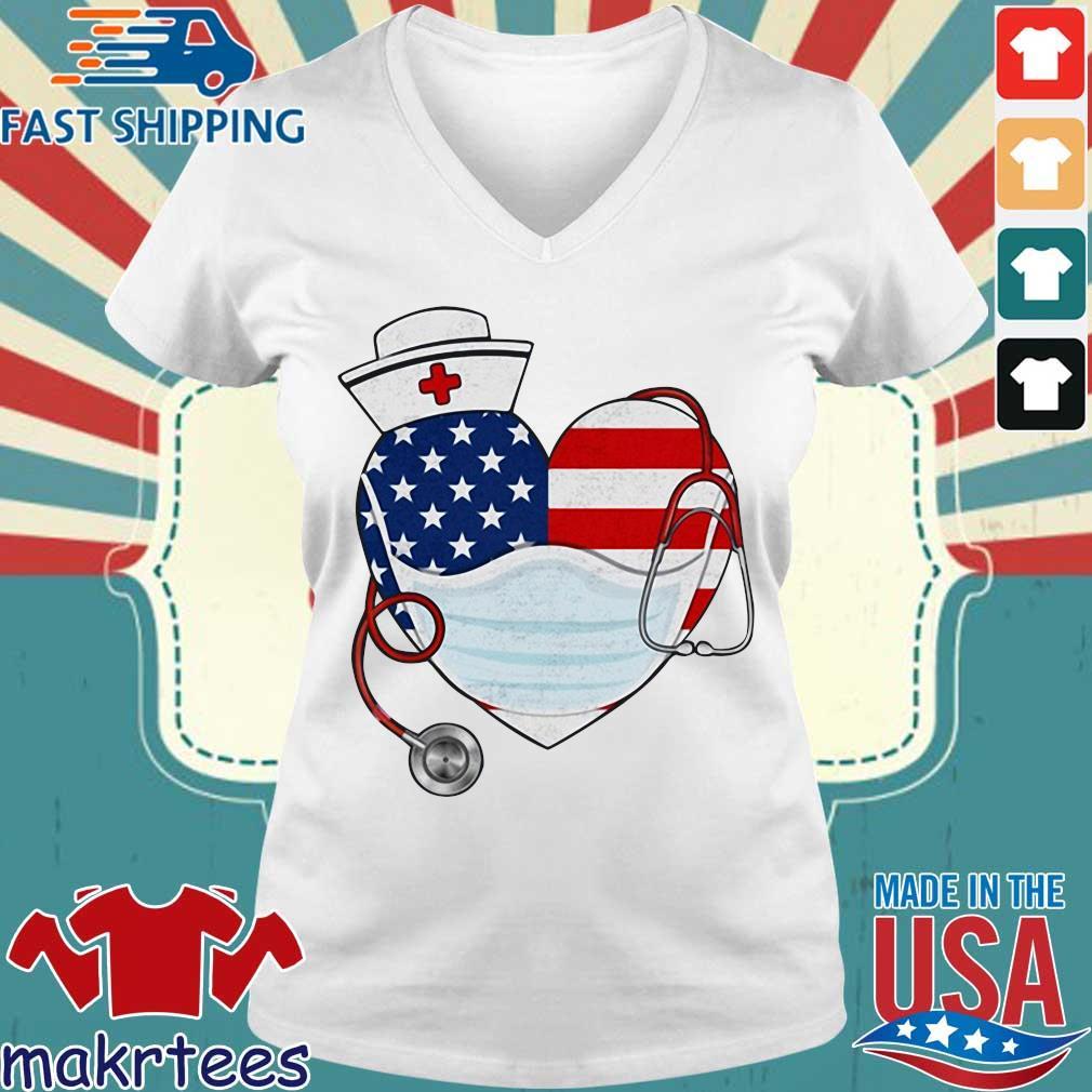 American Us Flag Nurse Heart Shirt Ladies V-neck trang