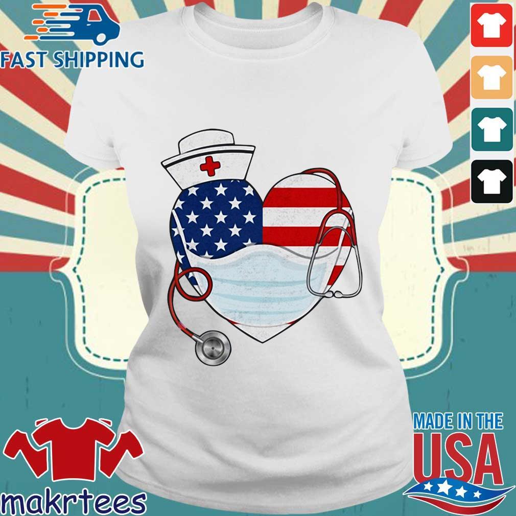 American Us Flag Nurse Heart Shirt Ladies trang