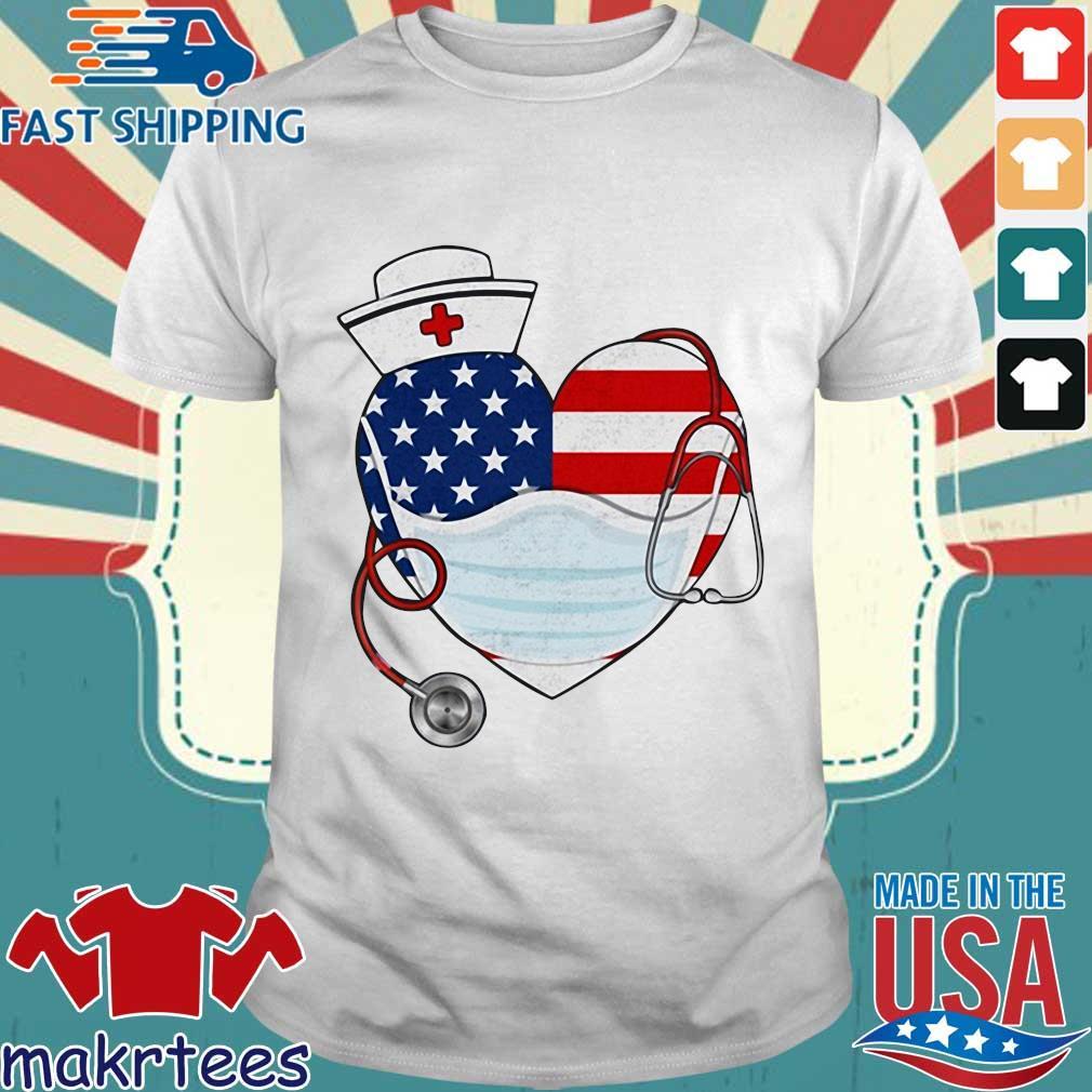 American Us Flag Nurse Heart Shirt