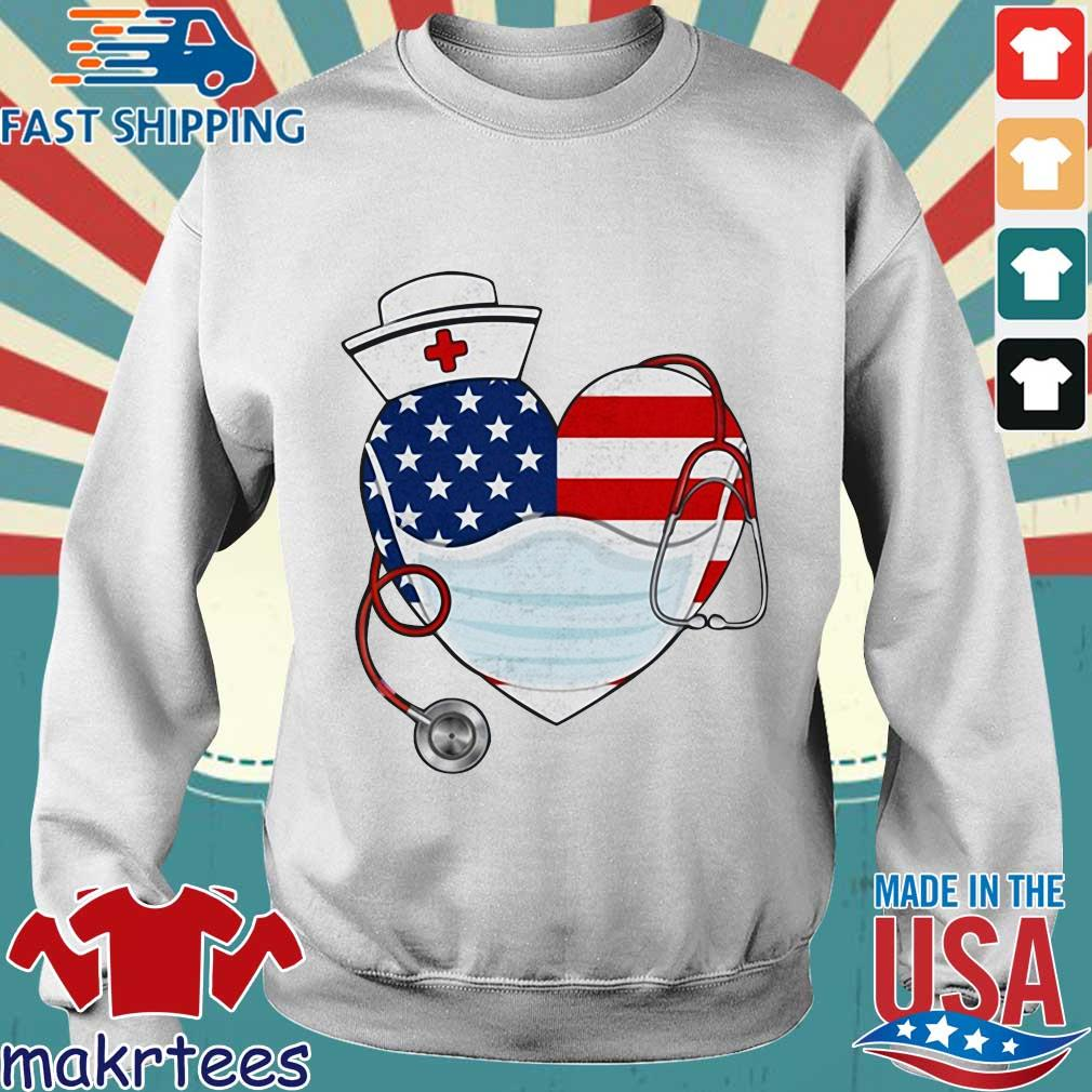 American Us Flag Nurse Heart Shirt Sweater trang