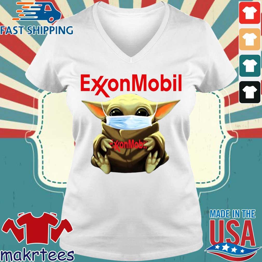 Baby Yoda Face Mask Hug Exxon Mobil Shirt Ladies V-neck trang