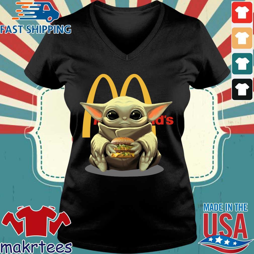 Baby Yoda Hug Hamburger Mcdonald_s Shirt Ladies V-neck den