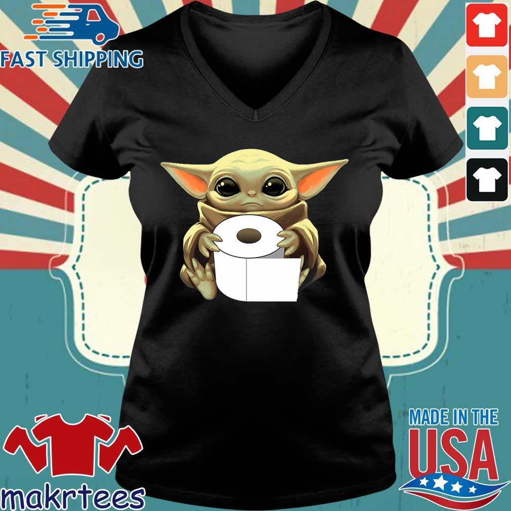 Baby Yoda Hug Toilet Paper Coronavirus Tee Shirts Ladies V-neck den