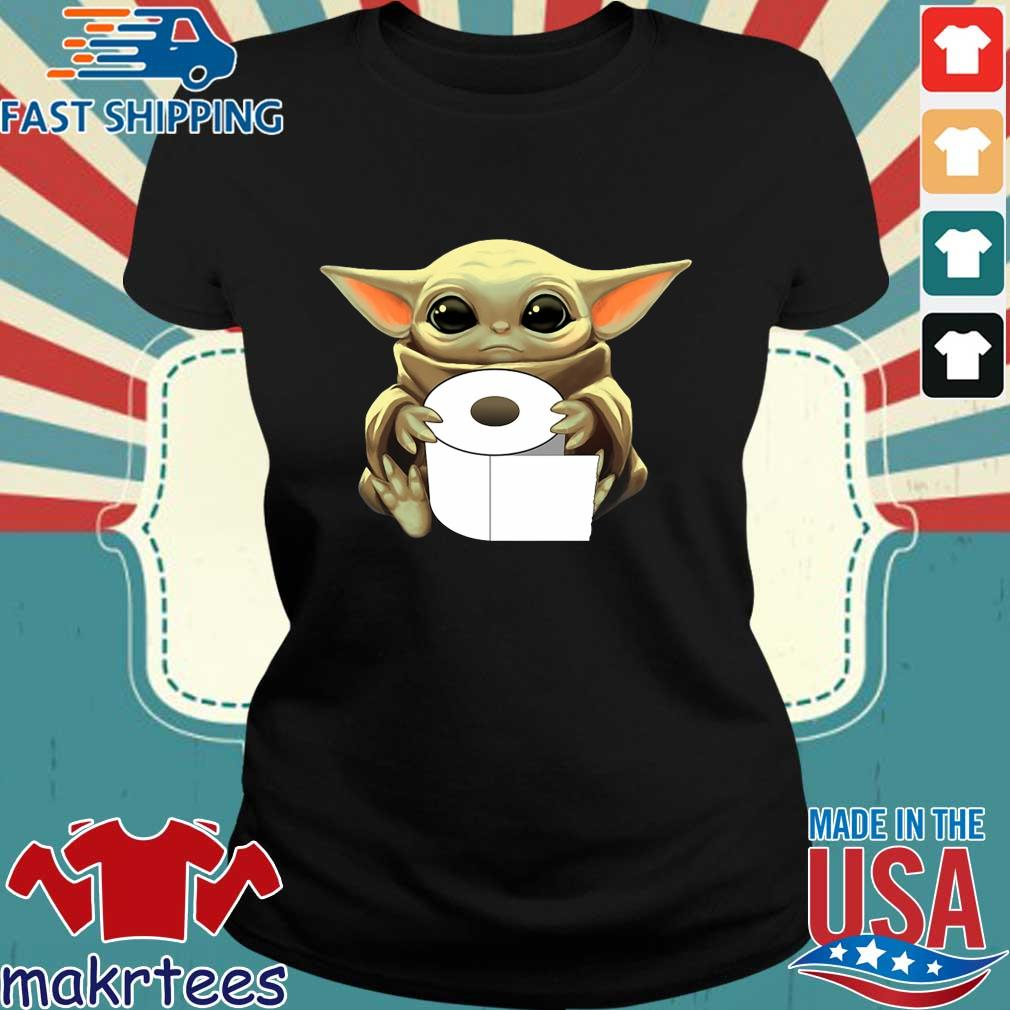 Baby Yoda Hug Toilet Paper Coronavirus Tee Shirts Ladies den