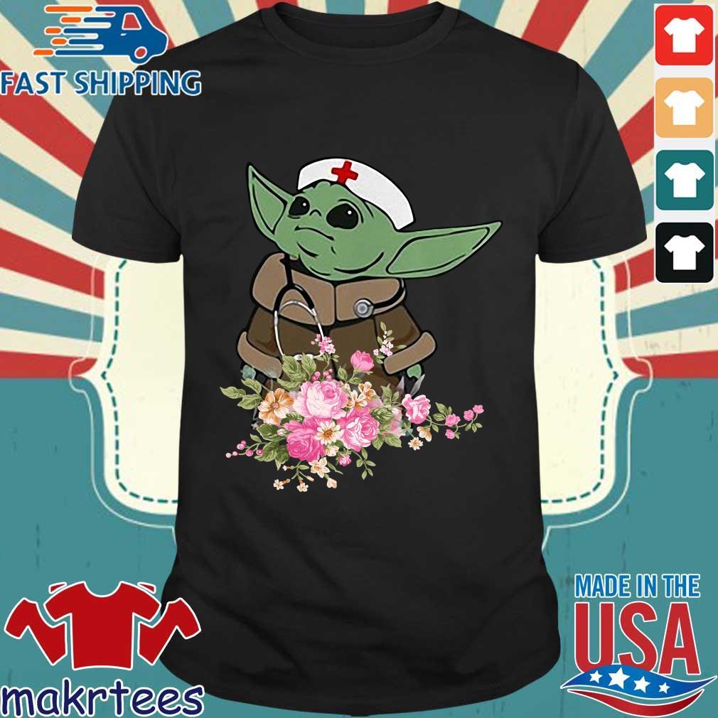 Baby Yoda Star Wars Nurse Flower Tee Shirt