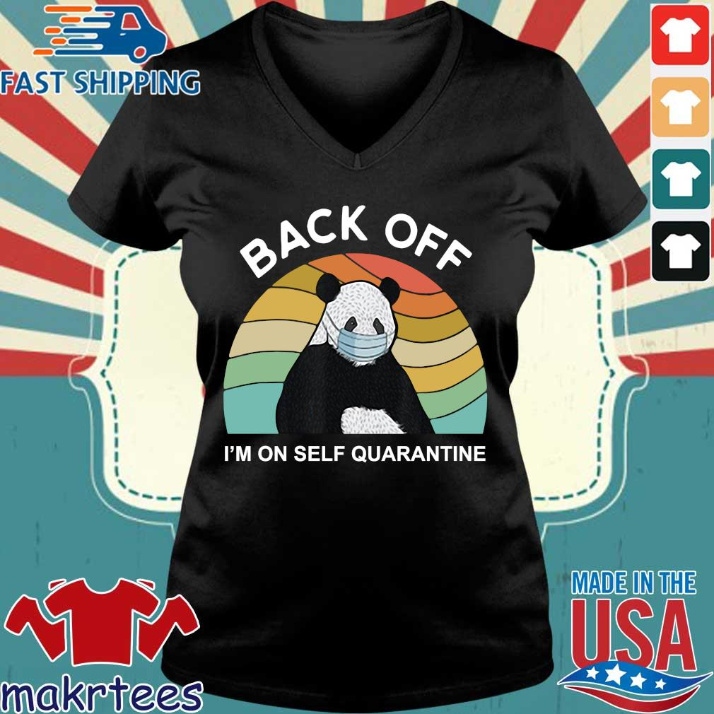 Back Off I'm On Self Quarantine Vintage Panda Shirt Ladies V-neck den