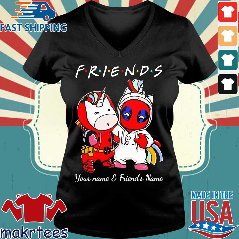 Best Friends Deadpool And Unicorn Your Name And Friends Name Shirt Ladies V-neck den