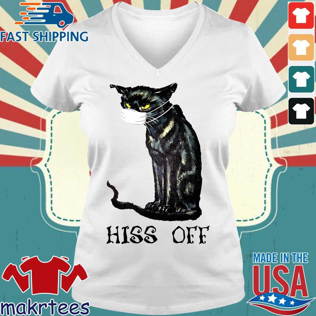 Black Cat Covid Hiss Off Crewneck Shirt Ladies V-neck trang