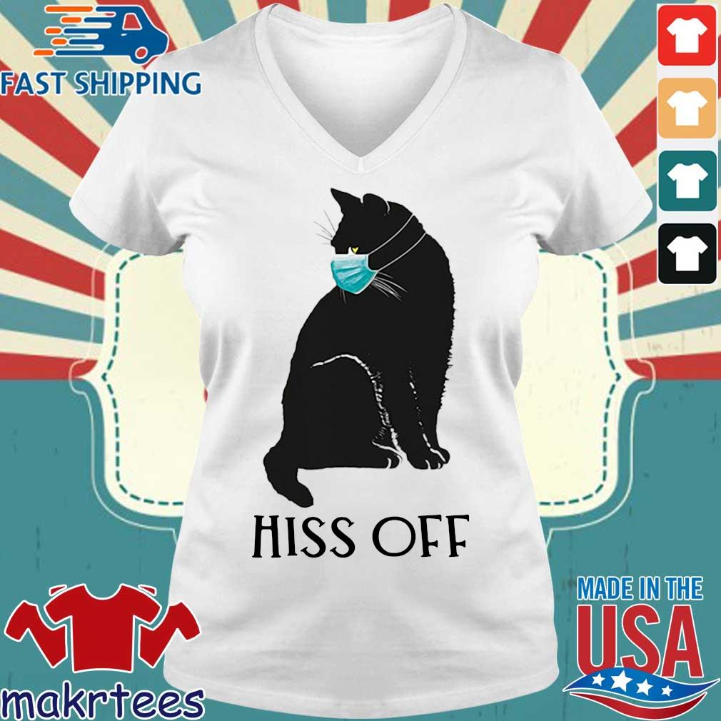 Black Cat Covid Hiss Off For Shirt Ladies V-neck trang
