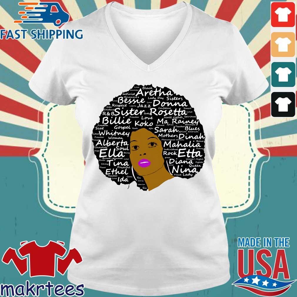 Black History Month Powerful Singers Natural Hair Shirt Ladies V-neck trang