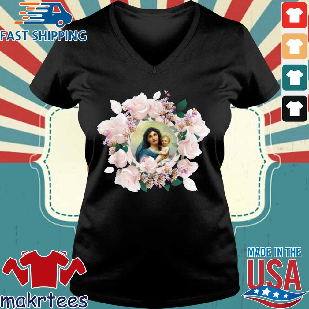 Blessed Mother Mary And Jesus Flowers Shirt Ladies V-neck den