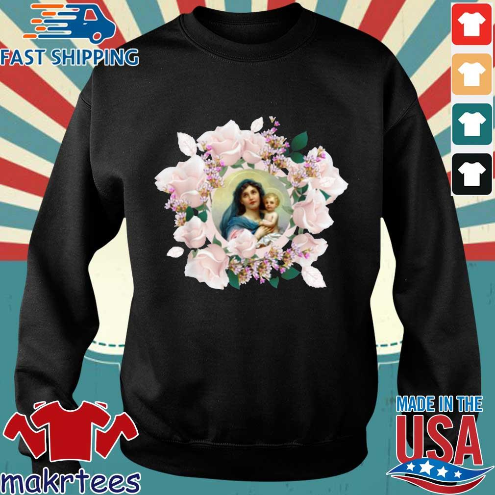Blessed Mother Mary And Jesus Flowers Shirt Sweater den