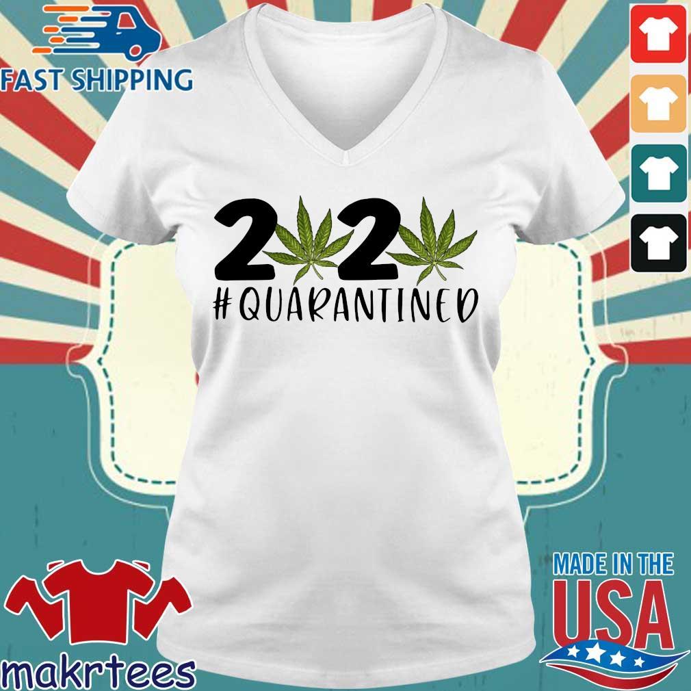 Cannabis Weed 2020 #quarantined Coronavirus Shirt Ladies V-neck trang