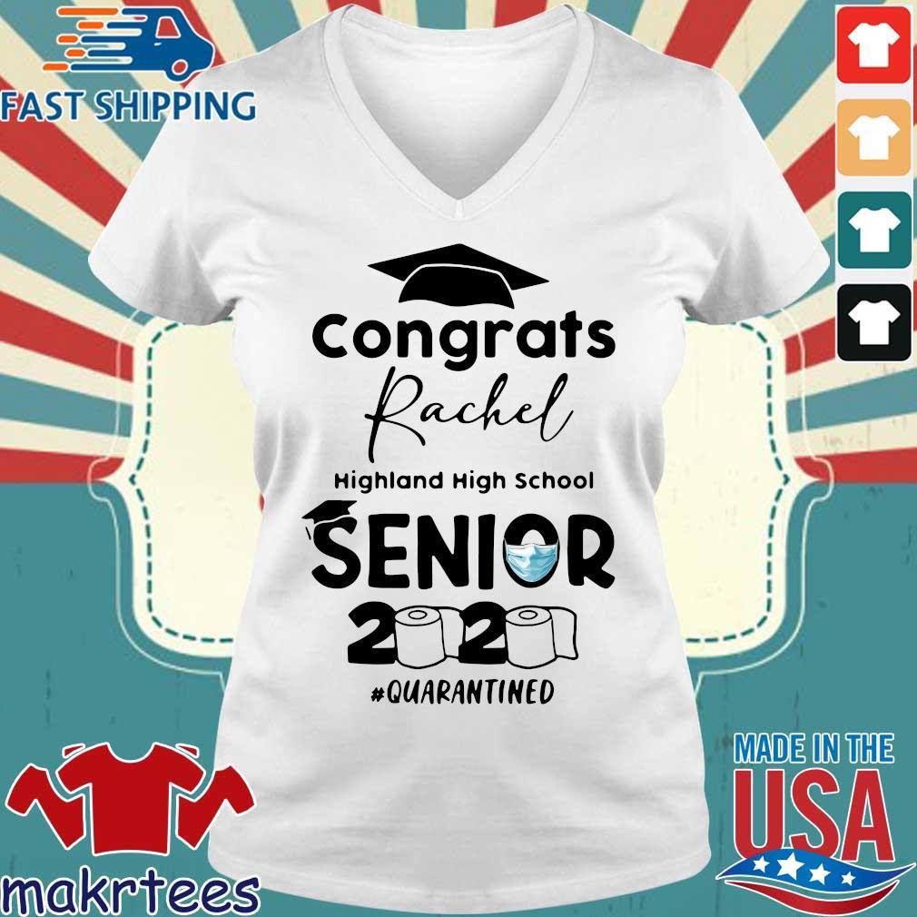 Congrats Rachel Highland High School Senior 2020 Quarantined Shirt Ladies V-neck trang