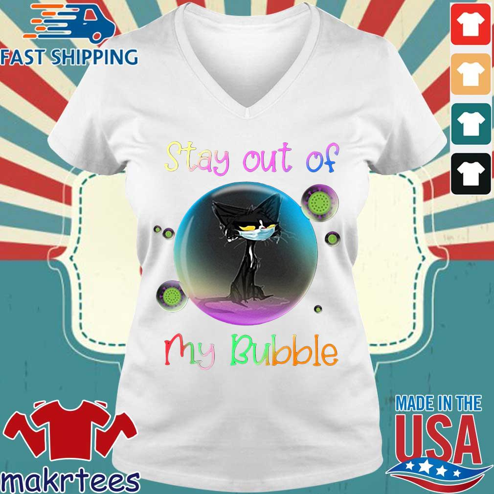 Cool Stay Out Of My Bubble Black Cat Shirt Ladies V-neck trang