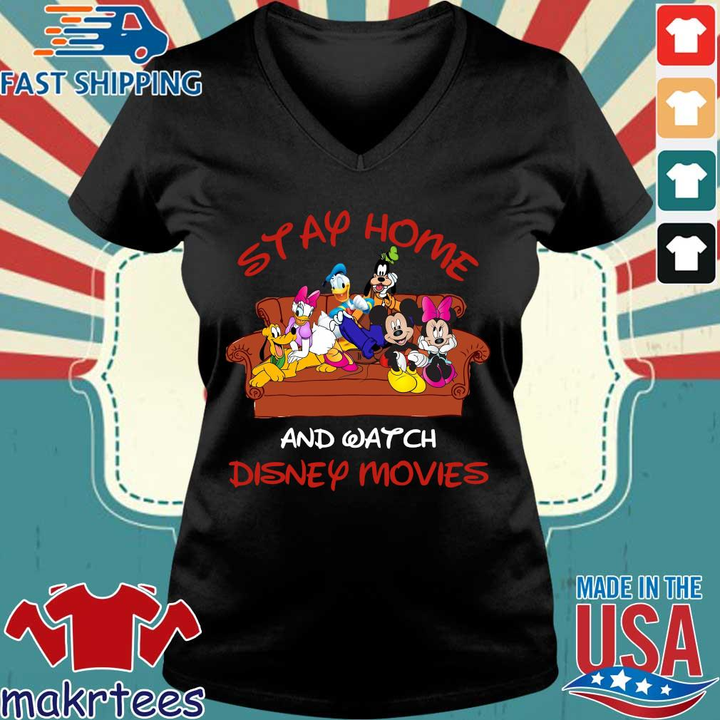 Disney Mickey And Friends Stay Home And Watch Disney Movie Covid-19 Shirt Ladies V-neck den