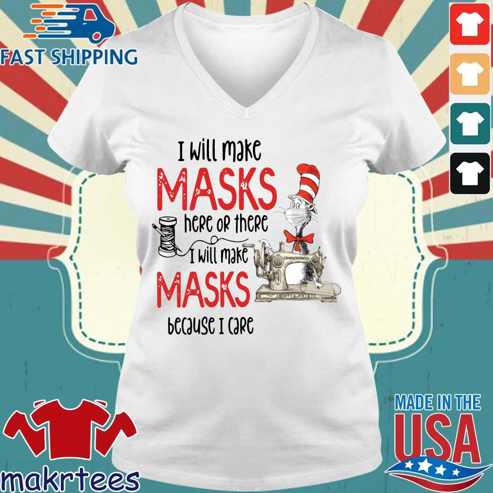 Dr Seuss I Will Make Masks Here Or There Shirt Ladies V-neck trang
