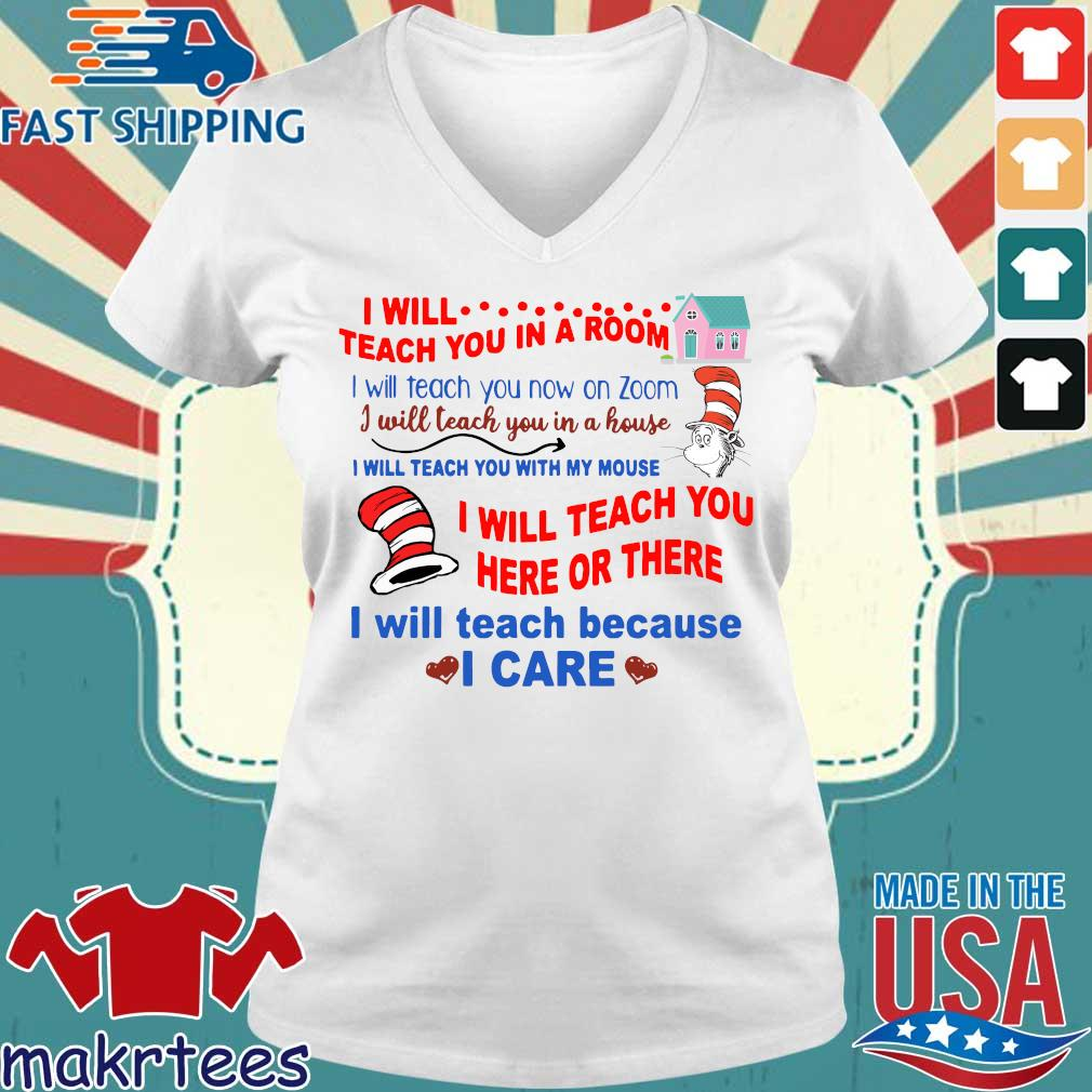 Dr Seuss I will teach you in a room tee Shirt Ladies V-neck trang