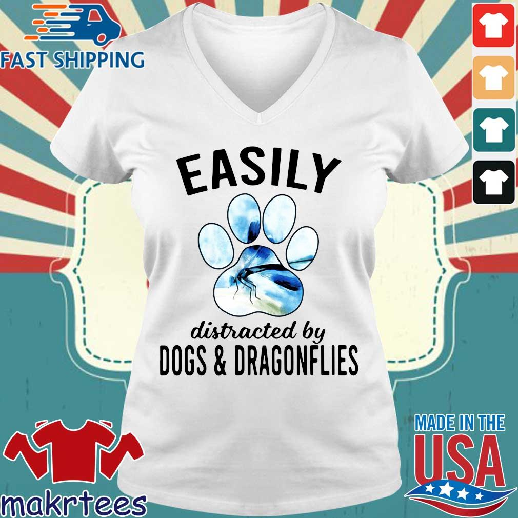 Easily Distracted By Dogs And Dragonflies Shirt Ladies V-neck trang